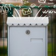 Postbox with white hand drawn mail icons — Stock Photo #35297221