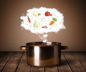 Grönsaker i ånga moln — Stockfoto
