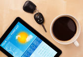 Tablet pc showing weather forecast on screen with a cup of coffe — Stockfoto