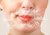 美丽的红嘴唇与白色气泡 — 图库照片