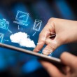 Finger pointing on tablet pc, mobile cloud concept — Stock Photo #35771701