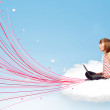 Young woman sitting in cloud with laptop — Foto de Stock
