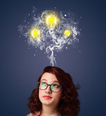Thoughtful woman with smoke and lightbulbs above her head — Stock Photo