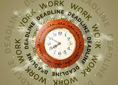 仕事と期限時計ラウンド執筆 — ストック写真