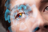 Futuristic modern cyber man with technology screen eye panel — Stock Photo