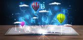 Open boek met gloeiende fantasie abstracte wolken en ballonnen — Stockfoto