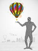 Człowiek w pełnym kolorze ciała trzymając balon — Zdjęcie stockowe
