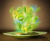 Grüne gesunde bio-teller mit essen — Stockfoto