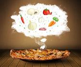 Pizza con ilustración de ingredientes vegetales en la nube — Foto de Stock