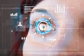 Future woman with cyber technology eye panel concept — Zdjęcie stockowe