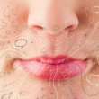 Pretty woman mouth blowing hand drawn icons and symbols — Stock Photo