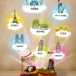Tourist suitcase with famous landmarks around the world — 图库照片