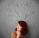 Young woman thinking with arrows over her head — Stock Photo