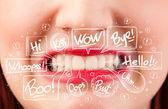 красивые красные губы с белым речи пузыри — Стоковое фото