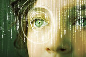 Modern cyber woman with matrix eye — Fotografia Stock