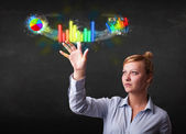 Young businesswoman touching colorful modern graph system concep — Stock Photo