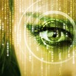 Stock Photo: Modern cyber womwith matrix eye