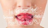 Schönen roten lippen mit weißen sprechblasen — Stockfoto