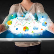 Person holding a touchpad with cloud technology and charts — Stok fotoğraf
