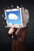 Woman with monitor screen and cloud computing on the screen — Stock Photo