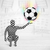 Man in full body suit holdig soccer ball — Stock Photo