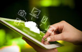 Finger pointing on tablet pc, mobile cloud concept — Stock Photo