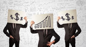 Handsome men in suit gesturing with drawn charts on cardboard — Stock Photo