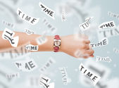 Clock and watch concept with time flying away — Stock Photo