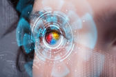 Future woman with cyber technology eye panel concept — Stock Photo