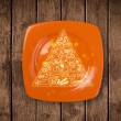 Stock Photo: Hand drawn food pyramid on colorful dish plate
