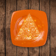 Hand drawn food pyramid on colorful dish plate — Stock Photo #38373687