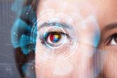 Budoucí žena s kybernetické technologie oko panelu koncepce — Stock fotografie