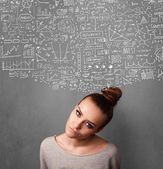 Young woman gesturing with sketched charts above her head — Stock Photo
