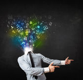 Business man with glowing media icons exploding head — Foto de Stock
