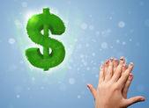 Dedos de emoticon feliz olhando folha verde cifrão — Foto Stock
