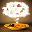 Plate of food with vegetable ingredients illustration in cloud — Stock Photo