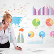 Business woman with colorful charts — Stock Photo #39294949
