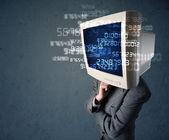 Conceito dados de computador cálculo humano cyber monitor pc — Foto Stock