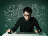 Genç nerd hacker ile virüs ve düşünceler hacking — Stok fotoğraf