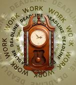 与工作和截止日期时钟圆的写作 — 图库照片