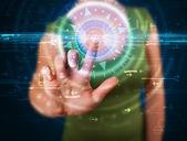 按高科技控制板屏幕 c 青年科技女人 — 图库照片