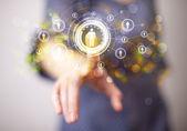 Modern businesswoman touching future technology social network b — Stok fotoğraf
