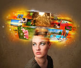 Girl with colorful glowing photo memories concept — Foto Stock