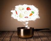 Vegetables in vapor cloud — Stock Photo