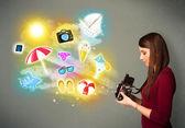 Teenage fotograf fotos urlaub malte ikonen — Stockfoto