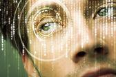 Modern cyber soldier with target matrix eye — Stock Photo