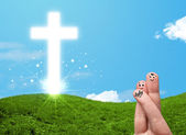 Happy finger smileys with christian religion cross — Stock fotografie