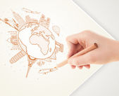 図面の休暇旅行のランドマークと c で地球の周りを手します。 — ストック写真