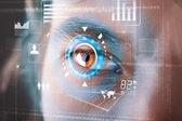 未来派现代数码人技术眼屏 — 图库照片