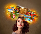Girl with colorful glowing photo memories concept — Stockfoto